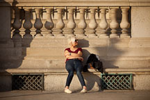 Woman sitting on bench. Paris, France. - Photo #31596