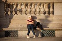 Woman sitting on bench. Paris, France. - Photo #31596