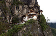 Sheer cliff walls and the Tiger's Nest monastery. Paro Valley, Bhutan. - Photo #24197