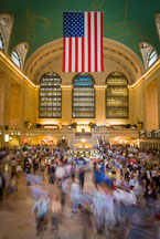An American flag hangs in Grand Central Station. New York City, New York, USA. - Photo #12998
