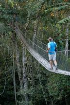 Walking a jungle canopy bridge. Amazon, Peru - Photo #8898