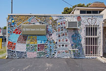 Mosaic on the wall of the Watts Towers Arts Center. Watts, Los Angeles, California, USA. - Photo #6798