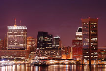 Office buildings at night. Inner Harbor, Baltimore, Maryland, USA. - Photo #3999