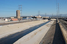 Los Angeles River flows through a concrete channel. Los Angeles, California, USA. - Photo #8595