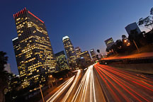 Light trails from traffic on the Harbor Freeway (110). Los Angeles, California, USA. - Photo #8029