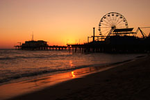 Santa Monica pier at sunset. Santa Monica, California, USA. - Photo #8305