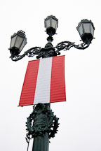 Street lamp and Peruvian flag. Lima centro, Peru. - Photo #8796